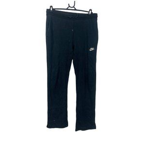 Nike Tracksuit Pants Mens Size L Black Cotton Fleece Straight Fit Joggers